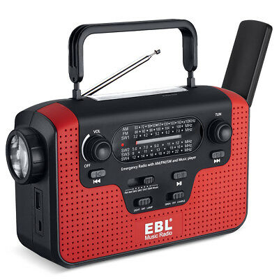 Emergency Solar Hand Crank Dynamo AM/FM/SW Radio SD Music LED Flashlight Charge