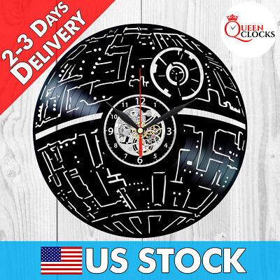Exclusive Star Wars Death Star Vinyl Record Wall Clock Art Birthday Party Gift Star Wars Wall Clock