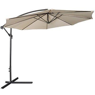 10 Hanging Umbrella Patio Sun Shade Offset Outdoor Market W Cross Base Beige