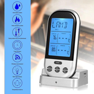 Wireless Digital LCD Remote Thermometer For BBQ Grill Meat Kitchen Food Cooking