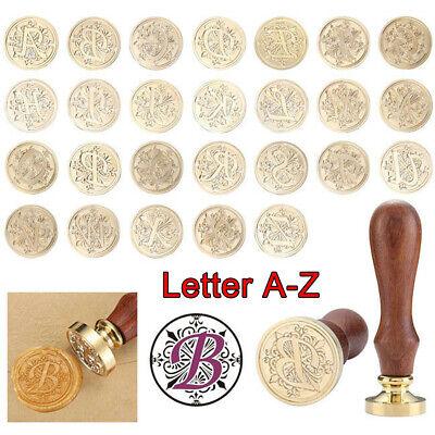Fleur-de-lis Initial A-Z Brass Head Vintage Retro Letter Alphabet Wax Seal Stamp