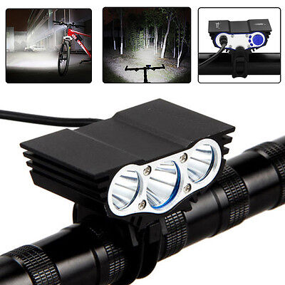 Rechargeable 20000 Lumens 3 x XML T6 LED 4-Mode Bicycle Front Light Headlamp