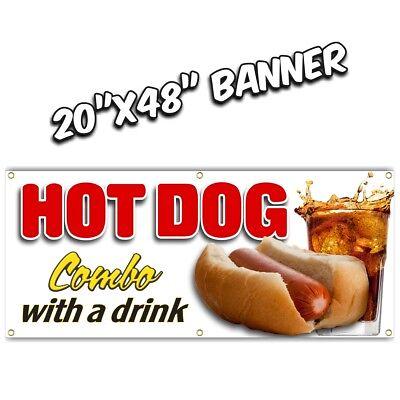 Hot Dog Combo Banner Sign  French Fries Chili Onion Rings Burger Nachos Chili