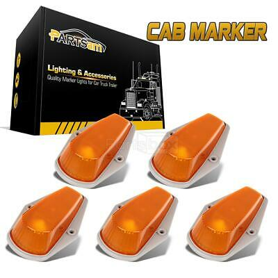 5 Roof Cab Marker Clearance Light Amber Covers+Base Housing For Ford F-150 80-97