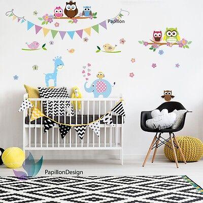 Giraffe/Elephant/Owl/Bird Nursery Baby Wall Decal Sticker (Owl Birthday Party Dekorationen)