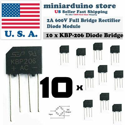 10pcs Kbp206 Generic Diode Full Bridge Rectifier 2a 600v 4pin