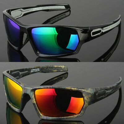 New Men Polarized Sunglasses Sport Wrap Around Mirror Driving Eyewear (Mirrored Wrap Around Sunglasses)