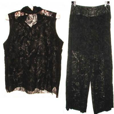 Sleeveless Black embroidered pant set, see though lined shorts