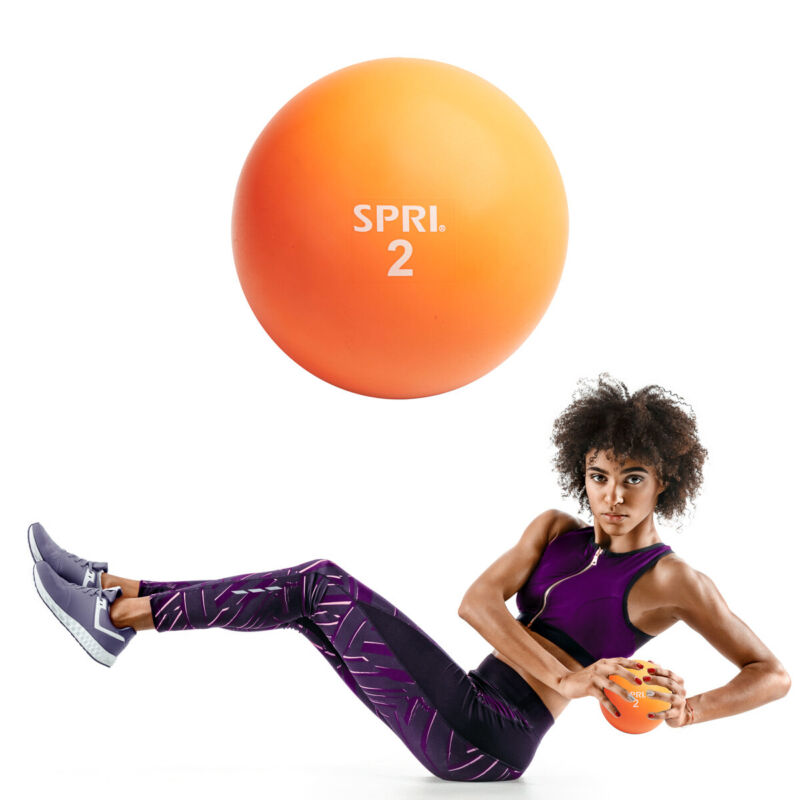 SPRI 2LB Soft Weighted Toning Medicine Ball for Exercise, Fitness, Core Training