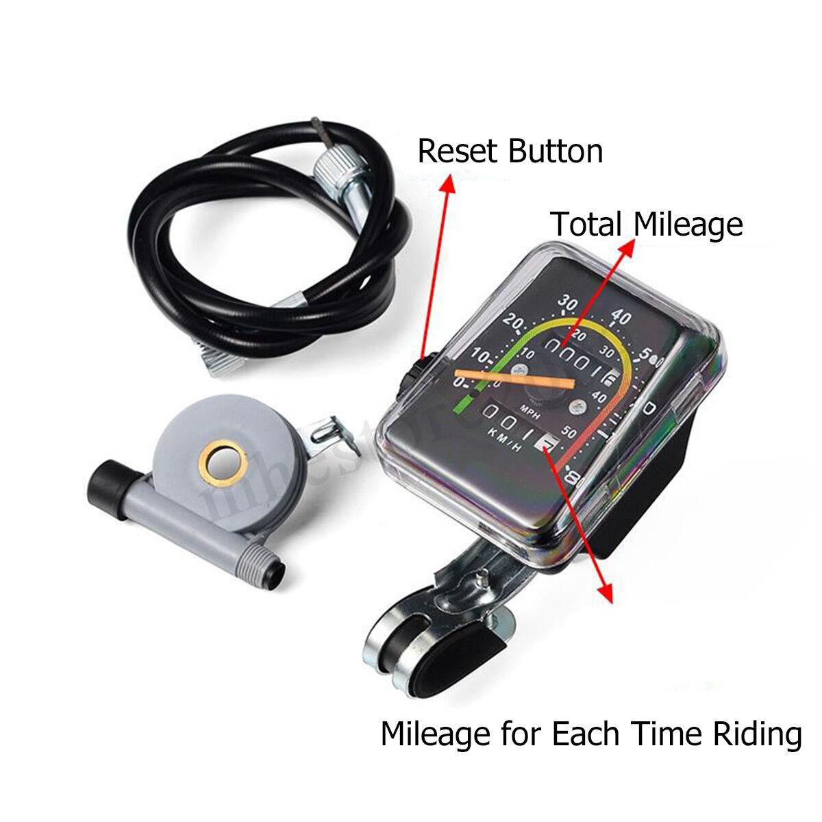 Universal Mechanical Speedometer Motorized Bicycle Bike MTB Stopwatch Odometer