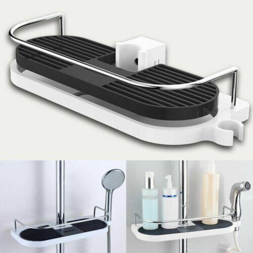 Duschregal ohne Bohren Duschablage für Duschstange Seifenkorb Höhe Verstellbar~