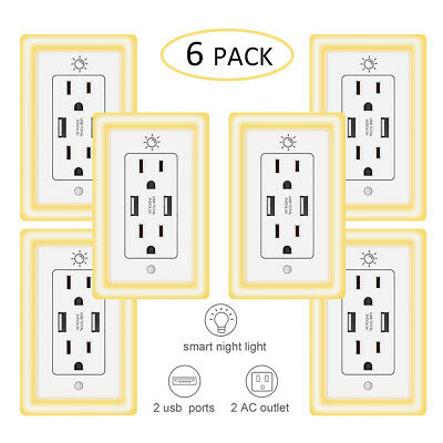 USB Wall Outlet Charger Receptacles Tamper Resistant Smart Night Light Wallplate Duplex Ac Outlet