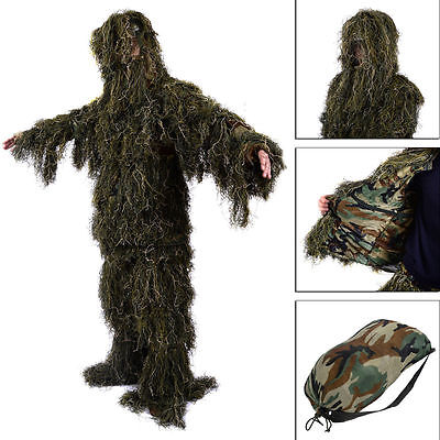 New Ghillie Suit M/L Camo Woodland Camouflage Forest Hunting 3D 4-Piece + Bag EK