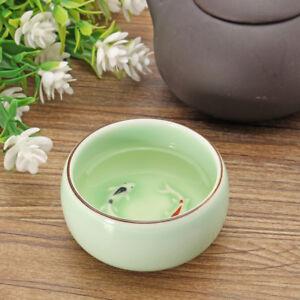 Green Handmade Chinese Celadon Ceramic Tea Cup Kung Fu Tea Double Fish Design