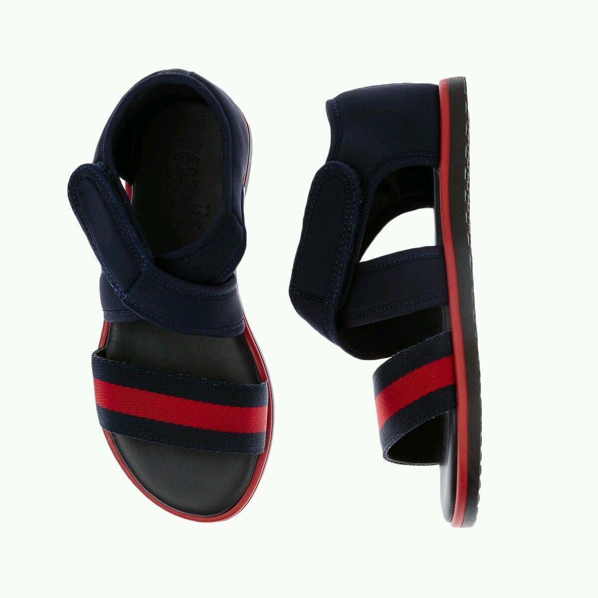 NIB NEW Gucci boys kids navy blue red web strap sandals 20 4 21 5 371588