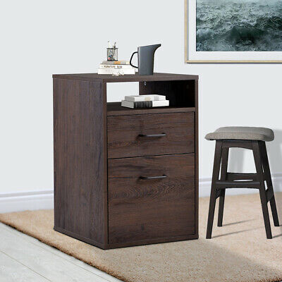Office File Cabine/ MDF Vertical Filing Cabinet With 2 Storage Drawers Walnut  Mdf Office File Cabinet