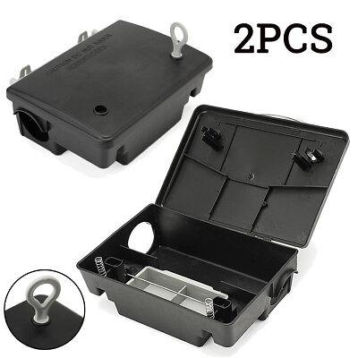 2x Rat Bait Station Rodent Poison Boxes Mice Pest Control Bait Box Trap + 2 Key