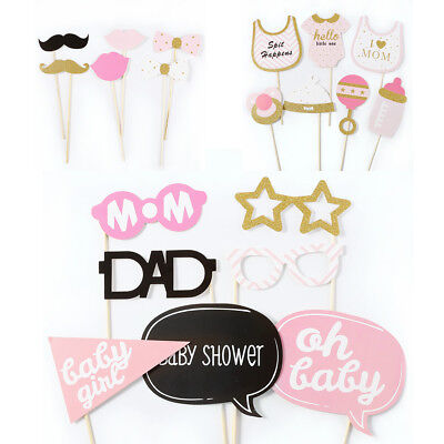 20pcs Pink Baby Girl Shower Photo Booth Props On Stick Party Birthday - Wedding Booth Props