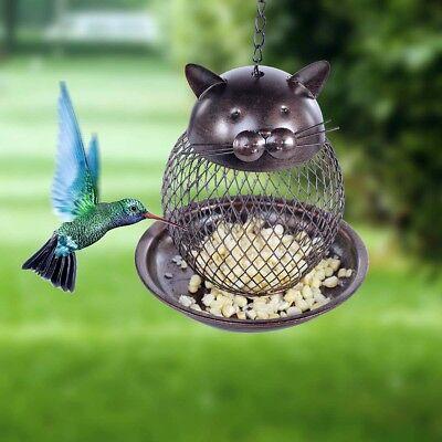 Tooarts Cat Shaped Bird Feeder Metal Outdoor Decor Garden Hanging Bird Box