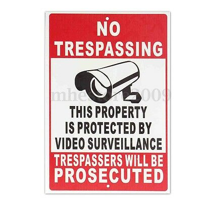 Property Protected By Video Surveillance Warning Security Camera Cctv Sign Metal