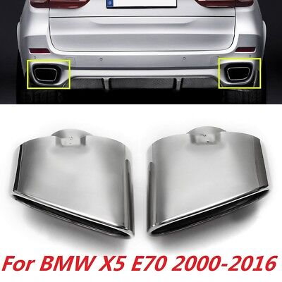 Dual Stainless Pipes - Pair Dual Exhaust Muffler Tail Pipe Tip Stainless Steel For BMW X5 E70 00-16 US