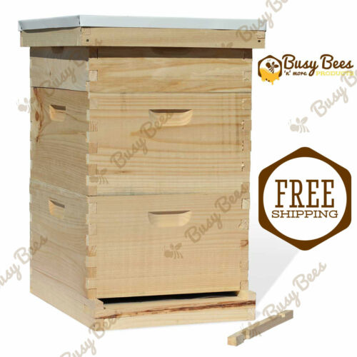 Complete Langstroth Bee Hive 10 Frame 2 Deep Boxes 1 Medium Box Free Shipping