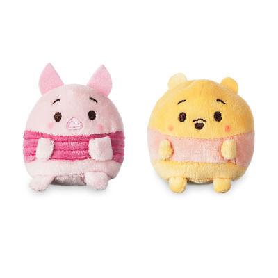 "Disney Store Authentic Pooh & Piglet Ufufy Mini Plush 2pc Set New 2 1/2"" L"