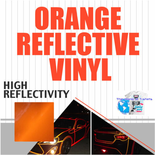 "High Reflectivity ORANGE Reflective Sign vinyl Adhesive  Plotter 24""x 10  Feet"