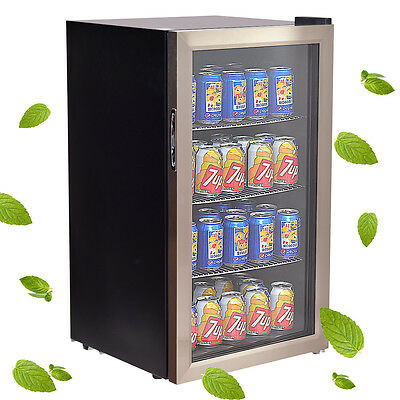 120 Can Beverage Refrigerator Beer Wine Soda Drink Cooler Mini Fridge Glass Door