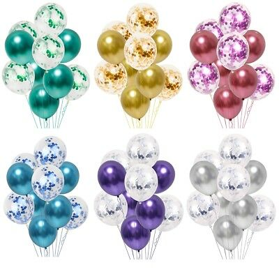 10pc/lot Chrome Confetti Balloons Bouquet Birthday Party Decor Metallic Wedding ](Balloon Confetti)