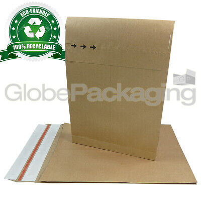 20 x STRONG ECO-FRIENDLY KRAFT POSTAL PAPER MAILING BAGS 250x352x40mm (10x14x2