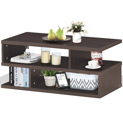 Coffee Table Rectangular Accent Cocktail Table Modern w/ Storage Open Shelves