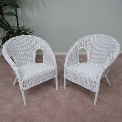 Real Wicker Stacking Small Chair (Children Only) (Set of 2) White ()