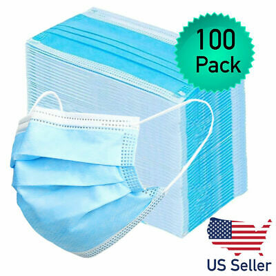 100pk Disposable Face Mask Adult Protective 3 Layer Ear Loop