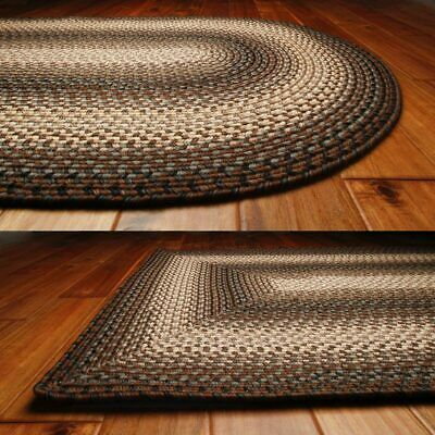 Brown and Black Country Braided Rug 20x30 to 8x10 Oval Recta