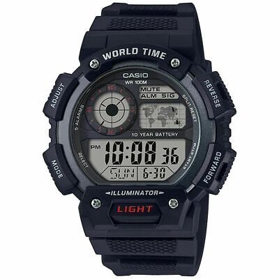 Casio AE1400WH-1AV, Chronograph Watch, World Time, Day/Date. 10 Year Battery