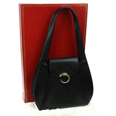 Authentic Cartier Panther Logos Shoulder Bag Black Leather Vintage GOOD RK12757g