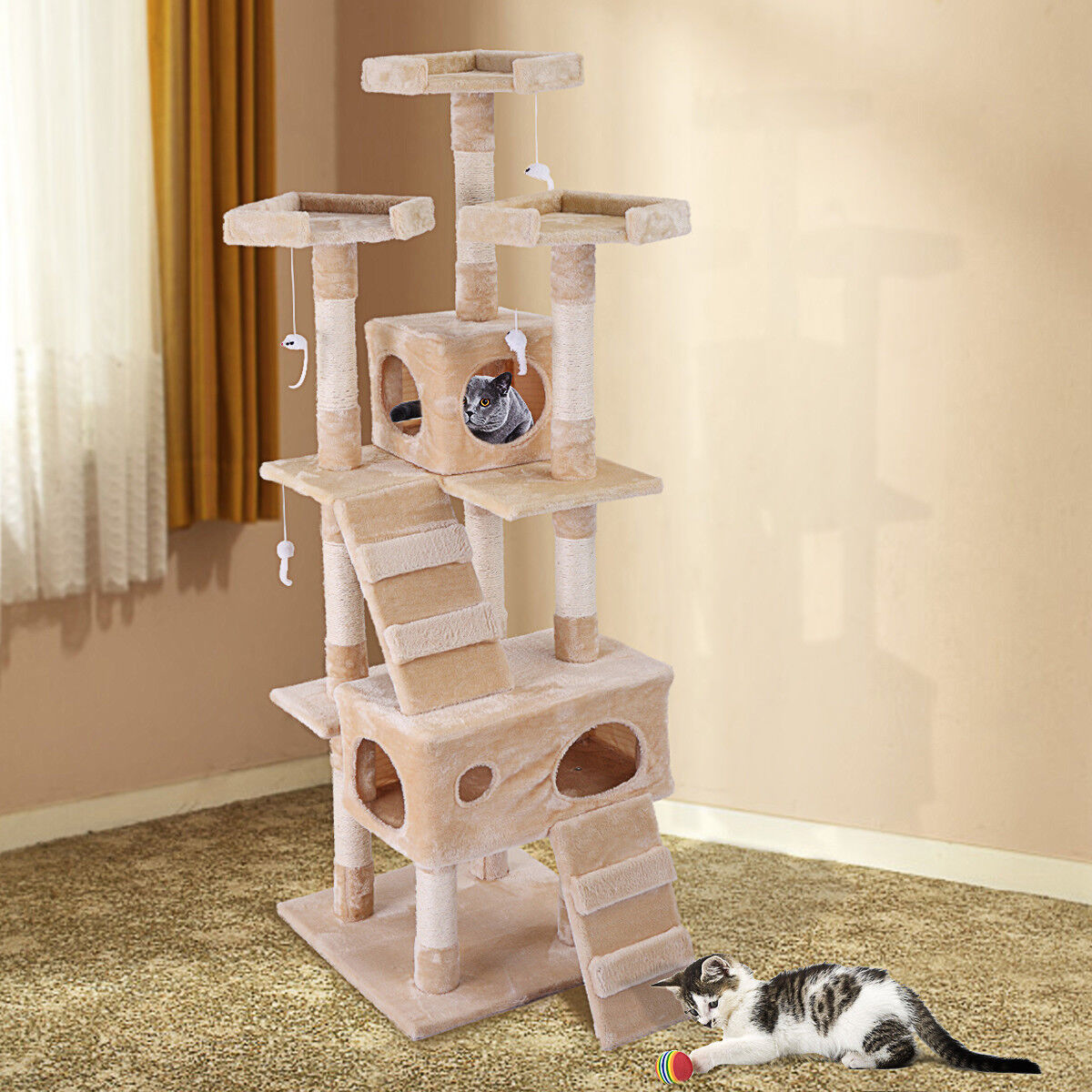 """New 67""""Cat Condo Tree Tower Furniture Scratching Post Pet Kitty Play House Beige"""