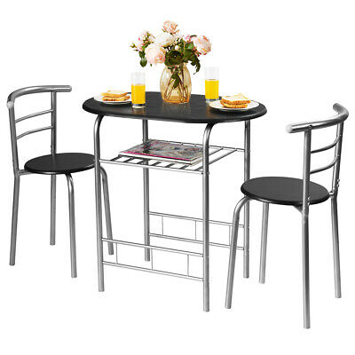 3 Piece Dining Set Table 2 Chairs Bistro Pub Home Kitchen Breakfast Furniture