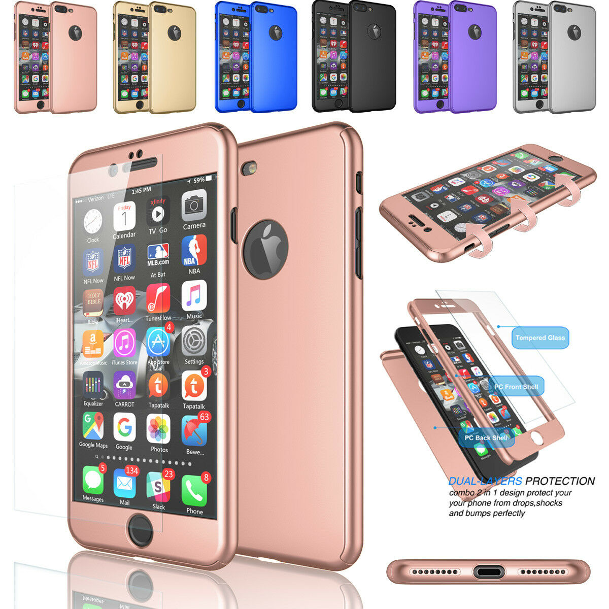 For iPhone 6 6S 7/ 8 Plus 360° Shockproof Protective Case Cover+Screen Protector