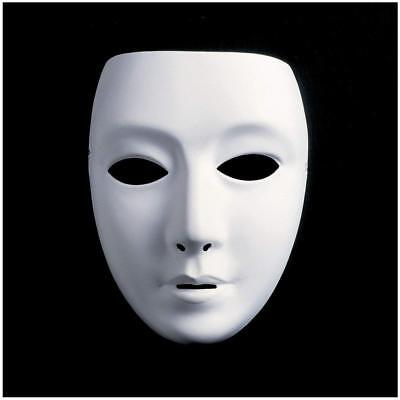 White Full Face Theater Mask Masquerade Paintable Paper Party Cosplay Costume - Masquerade Masks White