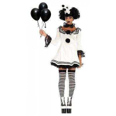Pierrot Costume Adult Harlequin Clown Halloween Fancy Dress