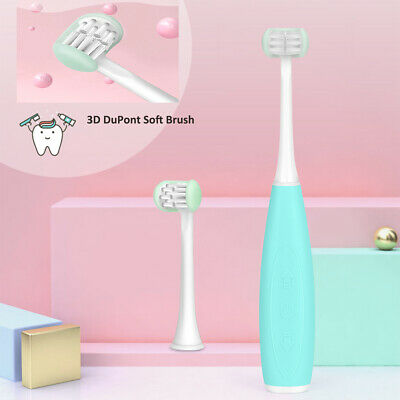 For Kids Wrapped Triple Head Sonic Electric Toothbrush Waterproof Rechargeable
