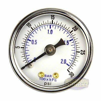 18 Npt Air Compressor Hydraulic Pressure Gauge 0-30 Psi Back Mount 1.5 Face