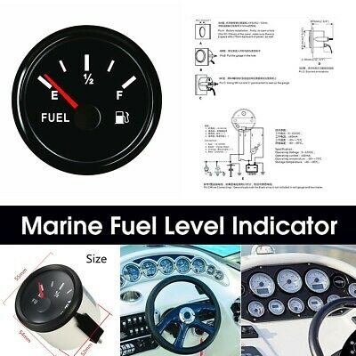 12/24V 52mm 240-33 ohms Boat Fuel Level Gauge Marine Yacht Trim Tank Indicator