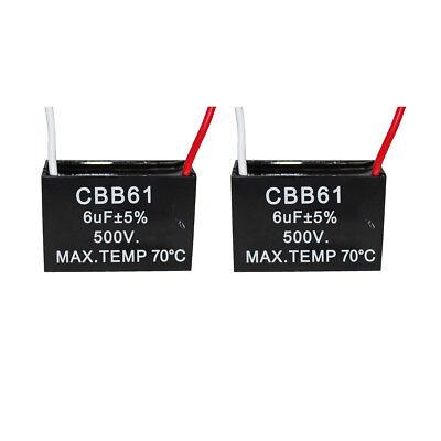 2PCS 500v 6uf CBB61 Ceiling Fan Motor Running Capacitor 2 Wire 50/60 Hz