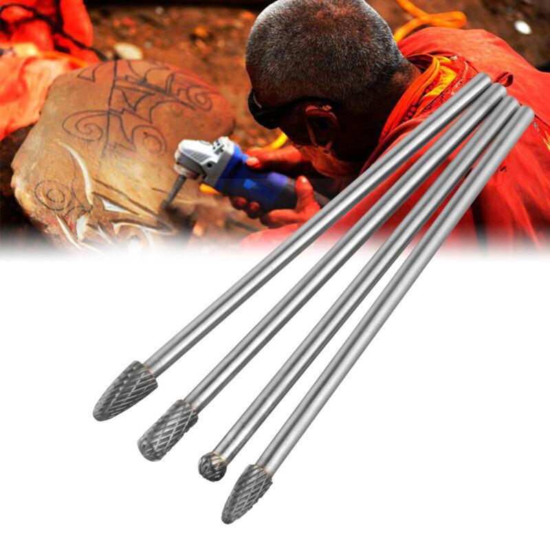 4Pcs/Set Long Reach Rotary Burr Double Cut Tungsten Carbide Bit 1/4 Inch Shank
