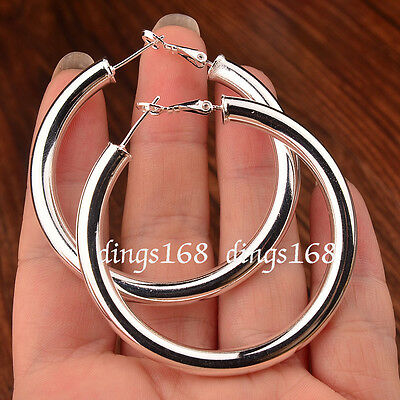 Classic Women's 925 Sterling Silver 2 inch Large Round Hoop Fashion Earrings H6