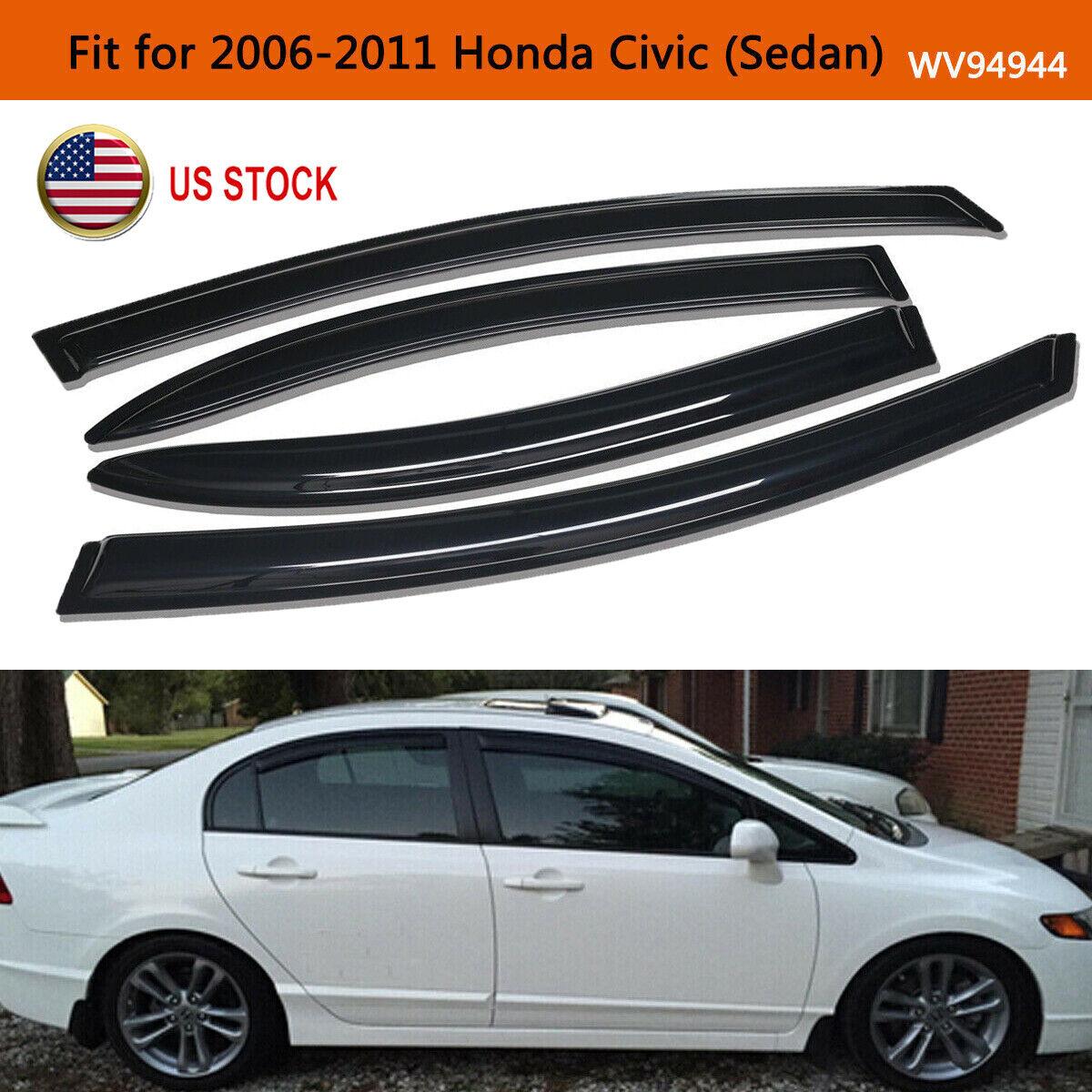 For 2006-2011 Honda Civic 4 Door Sedan Window Deflector Visor Vent Sun Guard