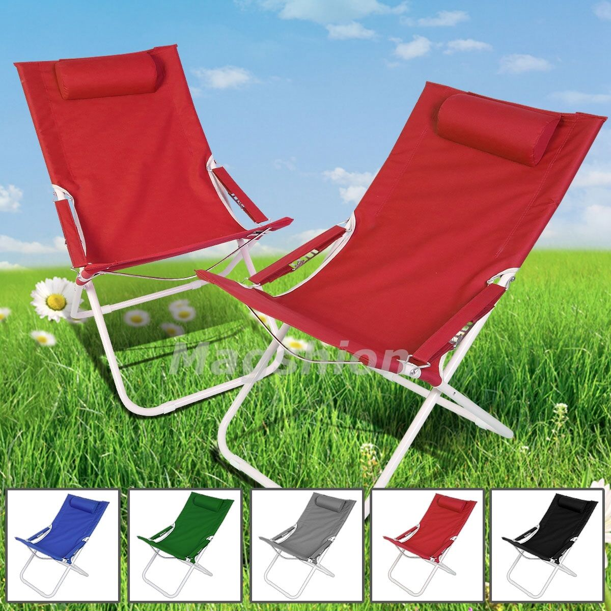 Red Curved Chair Folding Lounge Reclining Patio Pool Beach L